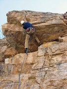 Rock Climbing Photo: Jamming through the crux roof on the FA of Hooliga...