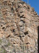 Rock Climbing Photo: The line of Hootenenanny.