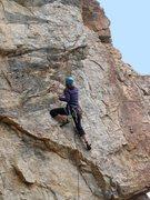 Rock Climbing Photo: Erica Bigio cranks through the lower crux.