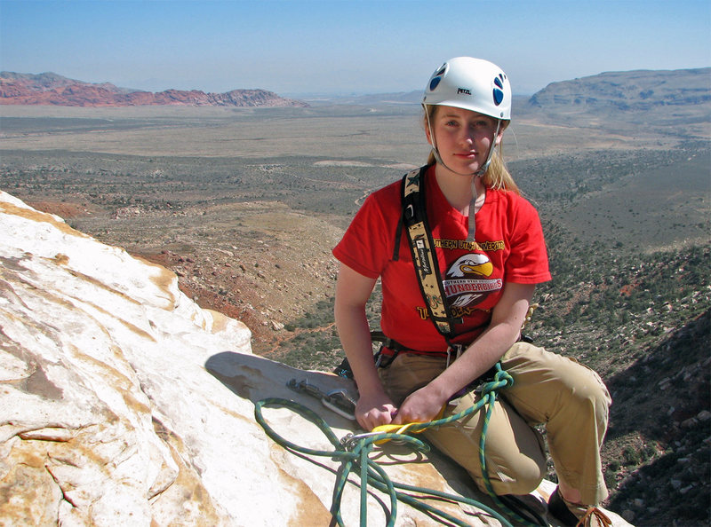 Rock Climbing Photo: Gwen at the top of pitch 5, Cat in the Hat.  March...