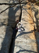 Rock Climbing Photo: At the only jug on Muscle Shoals.