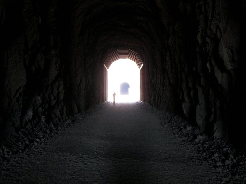 Jonny exiting the old train tunnel.<br> <br> Near Hoover Dam- 3/24/09