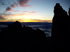 Rock Climbing Photo: Sunrise over east and west horns near the top of D...