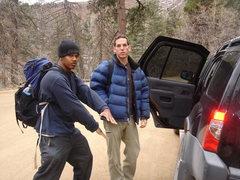 Rock Climbing Photo: Alex and Scott at the base of Palomas Peak