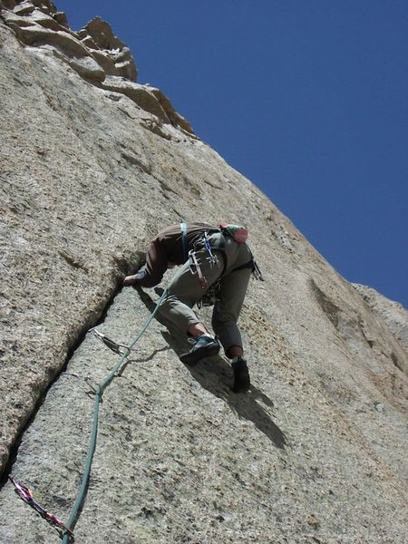 Bernard Gillett leading the 5th pitch.  The crux is the next ten feet.