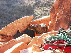 Rock Climbing Photo: Frida and Georgia waiting their turn on Amaretto.
