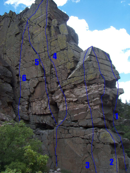 West and south faces of Airy Block with routes drawn in. 1 -South Face Right Side(5.11), 2 - South Face Left Side(5.9), 3 - West Face Right Side(5.8), 4 - West Face Middle (5.10), 5 - West Face Middle Variation (5.10), 6 - West Face Left Side(5.9)
