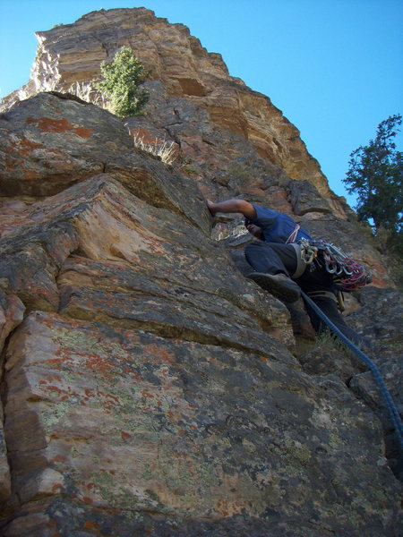 One of the first pitches on the limestone/quartzite buttress on the International, Glenwood Canyon.