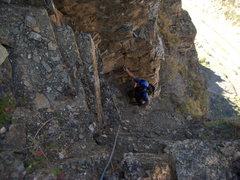 Rock Climbing Photo: Climbing the final chimney pitch of The Internatio...