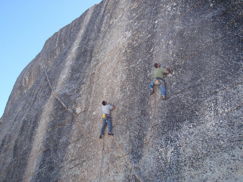 Sport climbing race on East Cottage Dome. Tuolumne Meadows.