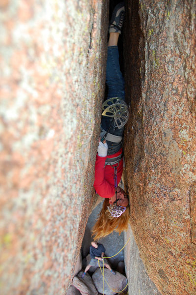Pamela Pack, the first woman to climb and flash Lucille (2008). Photograph by James Beissel.