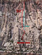 Rock Climbing Photo: Sunset Slab, showing the standard route and the di...