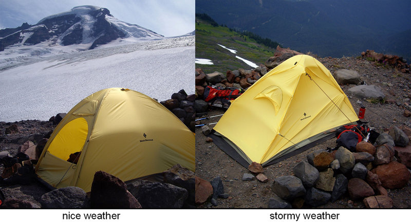 "Black Diamond's ultralight Firstlight tent. Performance in ""no wind"" vs. ""windy"" conditions."