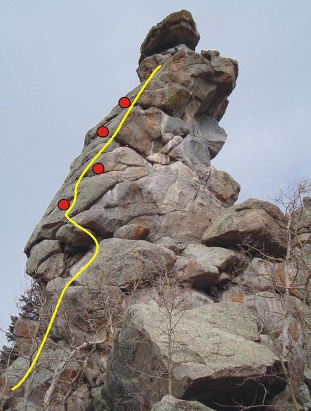 Rock Climbing Photo: Standard route up the spire, with approximate bolt...