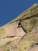 Rock Climbing Photo: The cool layback crack on pitch 4.