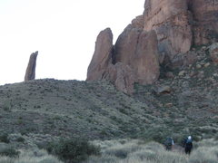 Rock Climbing Photo: Approaching the Hand, on the left, and the Tower, ...