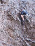 Rock Climbing Photo: The unprotected, technical crux of the first pitch...