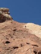 Rock Climbing Photo: Low angle slabs start the route