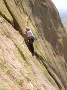 Rock Climbing Photo: Kimberly prepares to mantle the dyke after the cru...