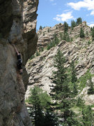 Rock Climbing Photo: Kirsten on one of the best 5.9s in the canyon.