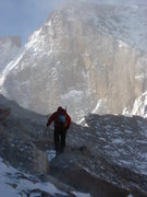 Rock Climbing Photo: On the way to the Cables Route on Longs in early F...