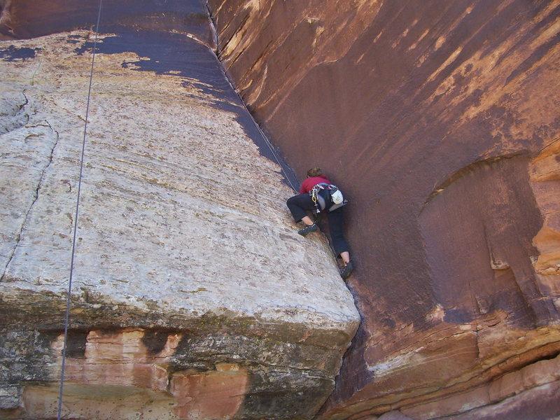 Rock Climbing Photo: Stef on the slabby start