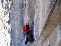 Rock Climbing Photo: Looking back at the belay from the traverse pitch