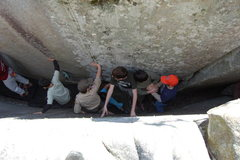 Rock Climbing Photo: Some of the boys are going thru fat-mans-sqeeze by...