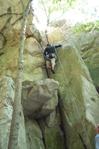 """Kyle climbing """"Seven Wishes"""" 5.6 G."""