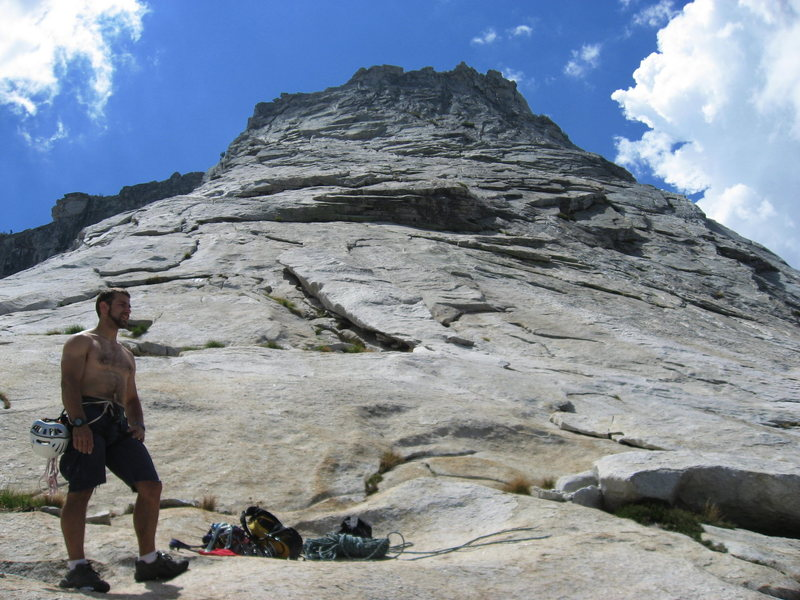 Route follows line of least resistance up those sunny slabs.