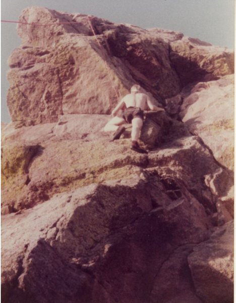 Rock Climbing Photo: Rob, a little off-route, around 1980.