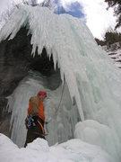 Rock Climbing Photo: Chris heading behind the pillar on 02/26/09.