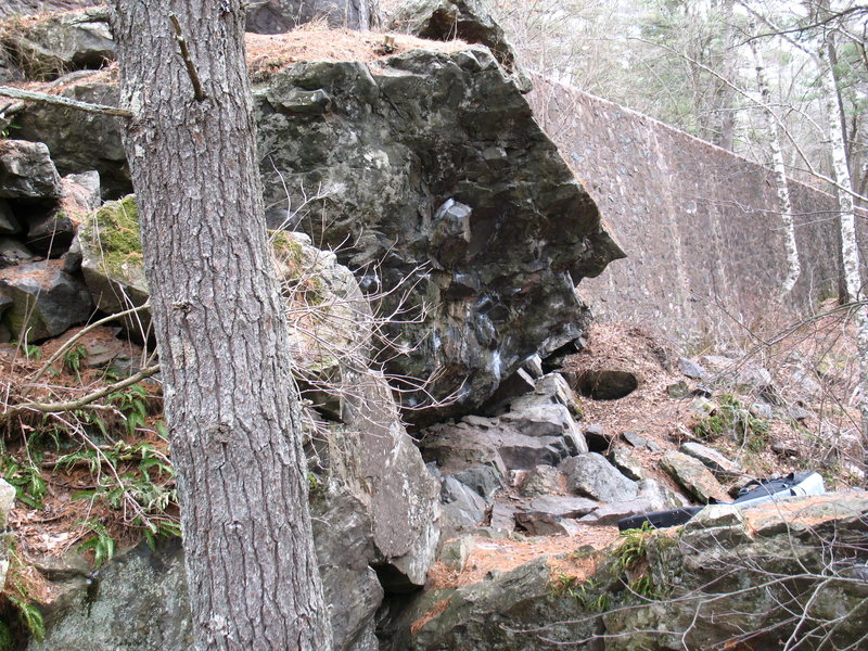 The Cave Boulder from below. You can see the road above. The Pharaoh boulder/Point Down boulder is down to the right.