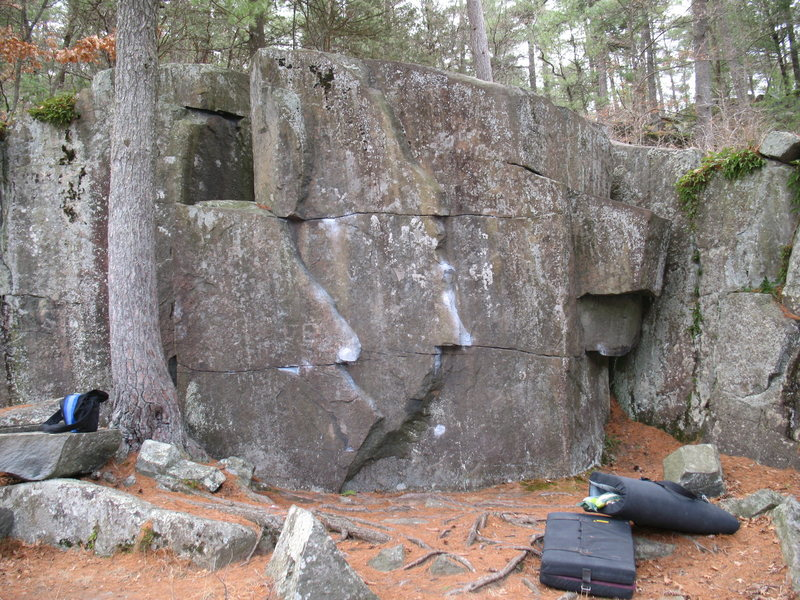 Mike's Boulders. Mike's Left/Right. OPJ to the right up under the roof.