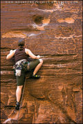 Rock Climbing Photo: Me between the first and 2nd bolt on Fool's Gold 1...