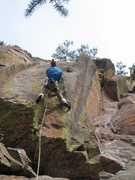 Rock Climbing Photo: Joseph Crotty setting up for the crux moves.