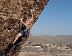 Rock Climbing Photo: me leading Maneater on the Cannibal Crag in Red Ro...