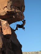 Rock Climbing Photo: me leading Side Effects in the Moderate Mecca at R...