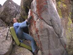 Rock Climbing Photo: Cat just finishing up the crux moves and traversin...