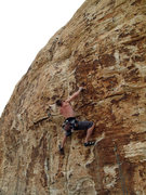 Rock Climbing Photo: me leading Good Mourning on the Wake Up Wall in Re...