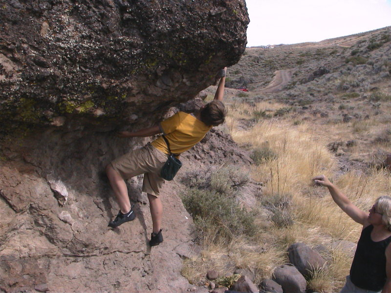 Rock Climbing Photo: Luke Larson entering the crux mantle on the rough ...
