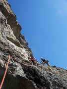 Rock Climbing Photo: Second pitch, easy short traverse. Not much more t...