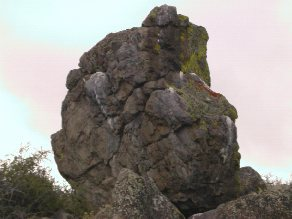 A picture of the captain disaster boulder.
