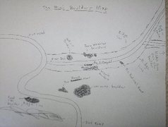Rock Climbing Photo: A rough sketch of the layout of the mini boulders....
