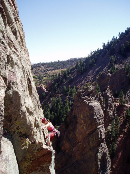 Rock Climbing Photo: Christa climbs as the Bastille falls away in the b...