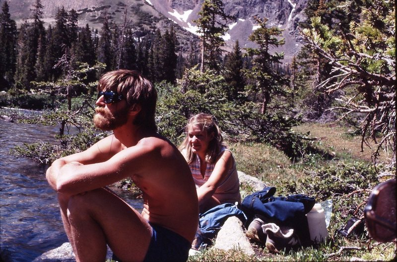 Jim Nigro, Gunnison hardman paying attention to the mountains instead of his date (Leslie Hepler), 1980.