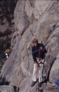 Rock Climbing Photo: Early climbing on the Dome, note shoes, harness an...