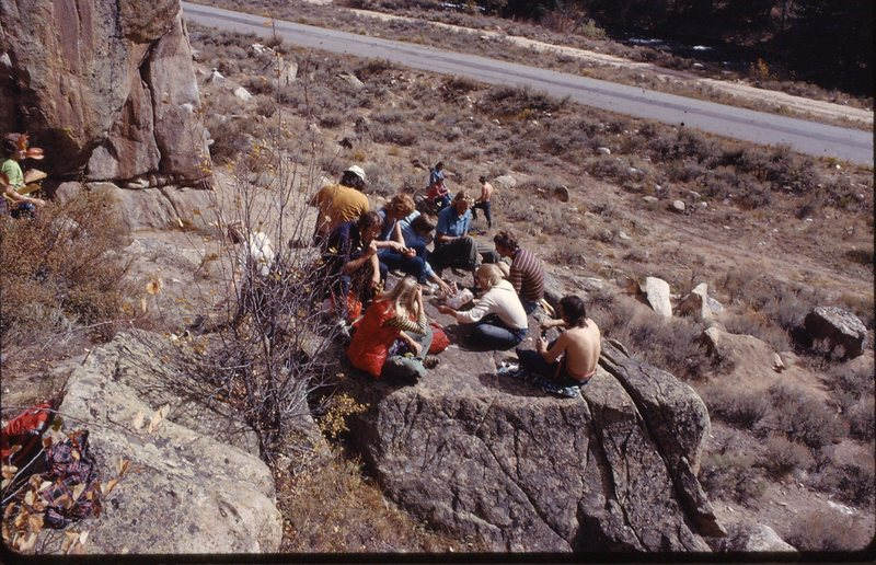 Communal lunch at Parking lot wall Western State Climbing Club, 1972.