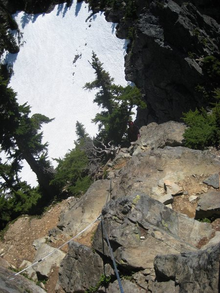 Half-way up third pitch (looking down).