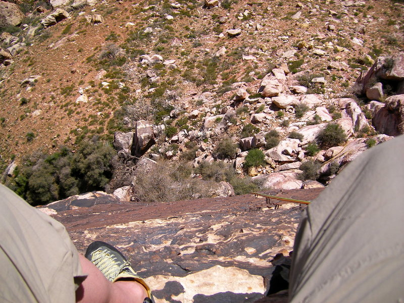 The view down from the tiny ledge at the top of pitch 5, Birdland.